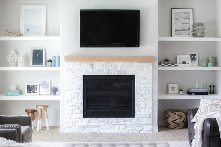 Our living room recently underwent a pretty dramatic make-over thanks to the addition of some custom floating shelves and a sleek, new man...