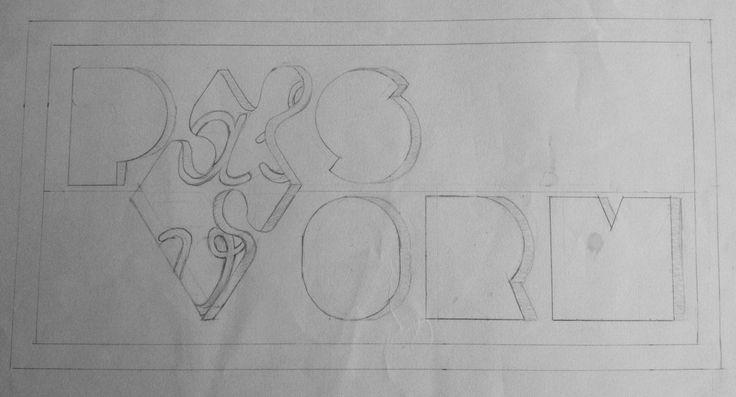"""Schets voor de Pasvorm. Dat de a en de V door het puzzelstukje worden gevormd, niet duidelijk genoeg. Vandaar de """"verduidelijking"""" van de letters. Ook zijn de letters 3D gemaakt. Net als het puzzelstukje."""