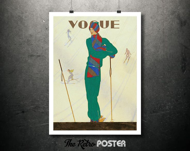 Fashion - Vogue - Ski Wear Number - December 1928 - Fashion Poster Vintage, Vogue Cover, Vogue Poster, Sports d'Hiver, Ski Poster, Skiing by TheRetroPoster on Etsy