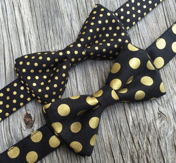 Black and Gold Bow Tie, Men's black and gold tie, gold bow tie, black and gold bowtie, bow tie for men, formal bow tie, black bowtie