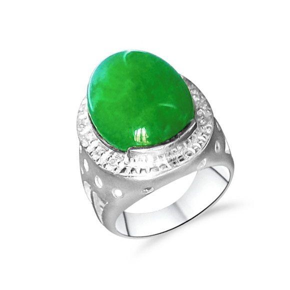 Anel Prata Feminino Pedra Jade Verde Natural E Zirconias Com
