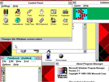 Windows 3.1 desktop showing a customized color theme