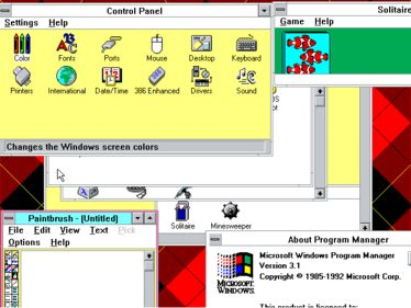 Windows 3.1 desktop showing a customized color theme