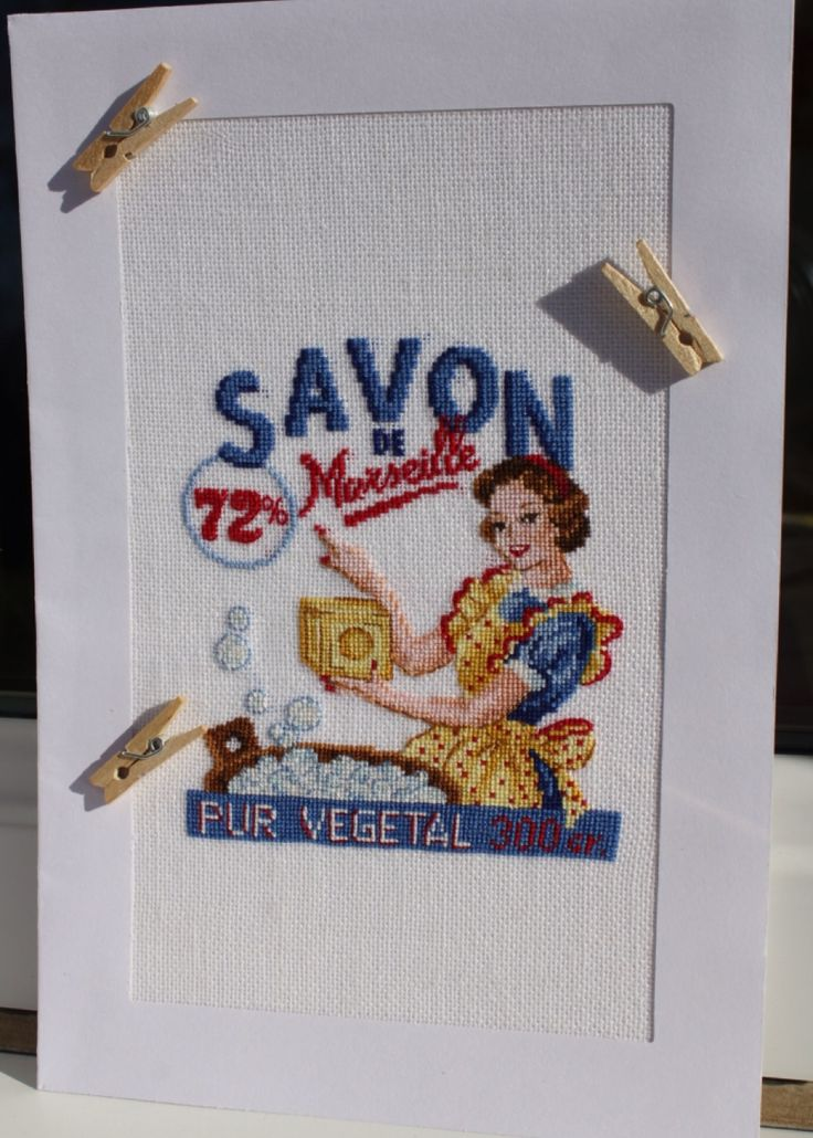 Veronique Enginger, Savon de Marseille 28 Permin linen, cross-stitched over one thread.