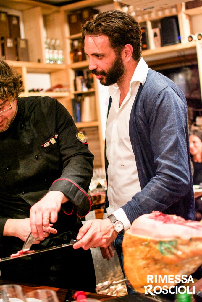 Andrea Cervone teaching how to cut jamon iberico