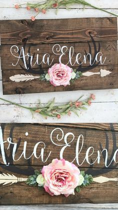 Rustic Large Nursery Baby Name | Arrow and Antlers | personalized | reclaimed pallet | wood sign | little girl room | boho flowers | hand painted sign #ad
