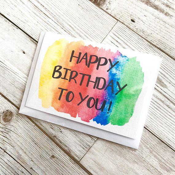 Rainbow Birthday Card Colourful Birthday Card Unisex Birthday