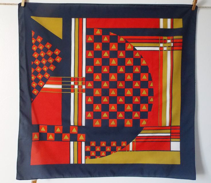 Vintage scarf, red, orange, blue and yellow gold headscarf, 70's mod kerchief, Texturé bandana, polyester vintage kerchief, vintage bandana. by LeVieuxGrenier on Etsy