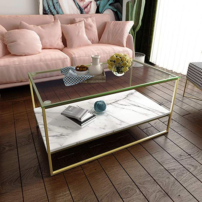 Tilly Lin Faux Marble Coffee Table Glass Top Coffee Table Cocktail Table With Gold Metal Legs Review Faux Marble Coffee Table Coffee Table Marble Coffee Table