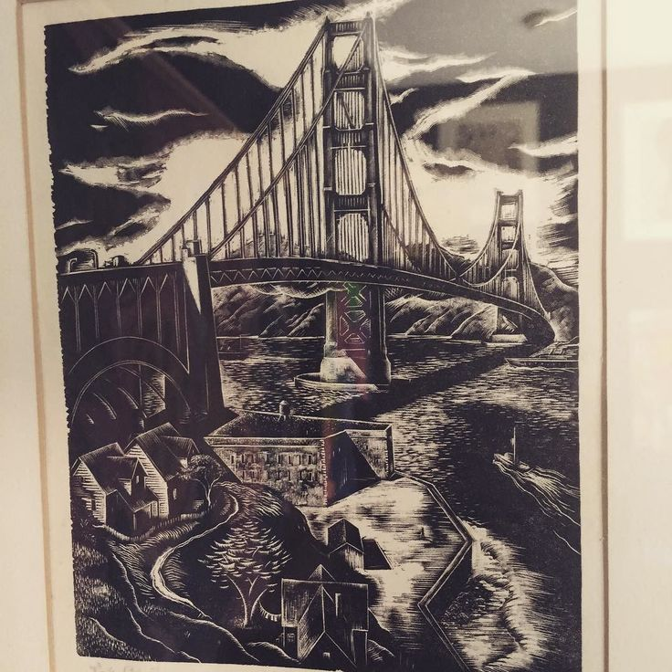 Fort Point and GG Bridge c.1940s. This piece has a special meaning to me. When my family of 7 moved to the Bay Area from Queens NY we would come here almost every weekend. We would play hide and seek at Fort Point and take our annual family photo here. I hold this special place close to my heart. I  SF!     #mghdiscoveredart #goldengatebridge #1940s #vintageart #bayareavintage #fortpoint #sanfrancisco #myfavoriteplace #interiorstyling #homedecor #decoratewithvintage #smallbusiness…