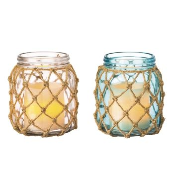 Clear and Turquoise Glass Candle Holders