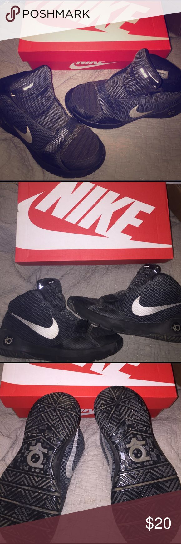 Nike KD boys size 6 used good condition no laces Black and grey Nike KD high top sneakers, no laces, fair to good condition, soles are great, but material has some fading, 🐱🚬🏡 Nike Shoes Sneakers