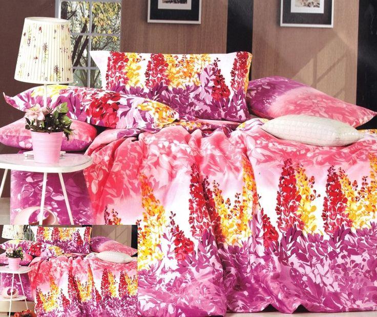 Ružovo fialové posteľné obliečky s motívmi