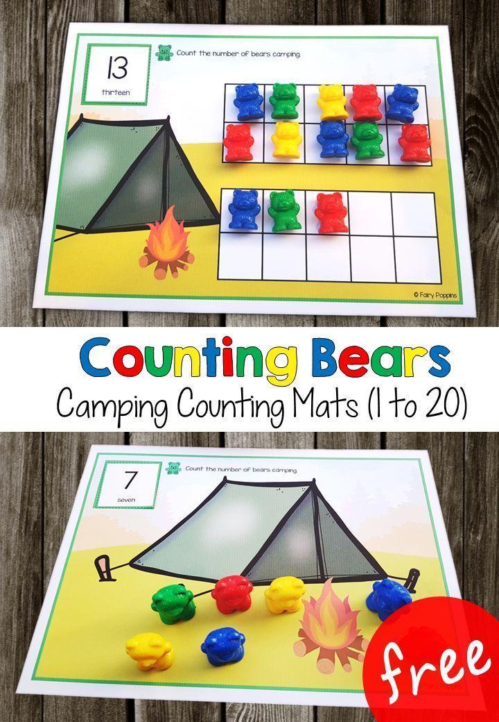 Camping Counting Mats Preschool math, Kindergarten