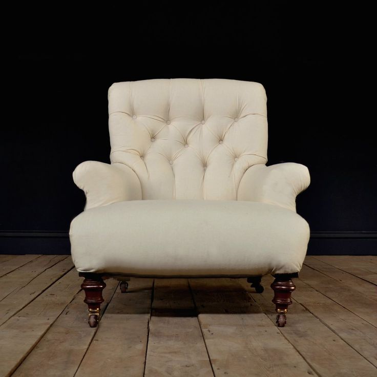 A good quality button back armchair by the renowned London cabinetmaker,Cornelius V. Smith who operated at 'Marshalls yard, Henry St, Hampstead Rd, London'. Circa 1890. Elegantly shaped, comfortable deep seated with lumber back and sprung seat. Quality oak frame raised on turned mahogany legs with original brass castors. Makers mark stamped C.V.S. Price to include full re-upholstery (fabric not included in price) please see our range on the fabric page, or tell us your requirements...