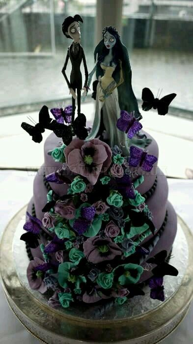Tim Burton Corpse Bride Wedding Cake Black And Red
