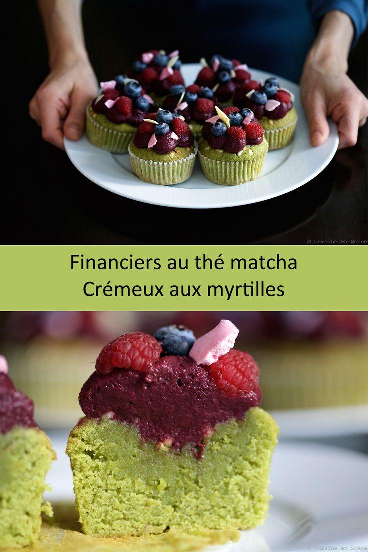 Financiers matcha myrtilles