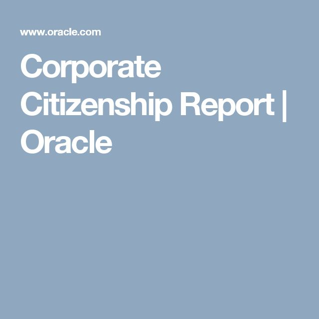 Corporate Citizenship Report | Oracle