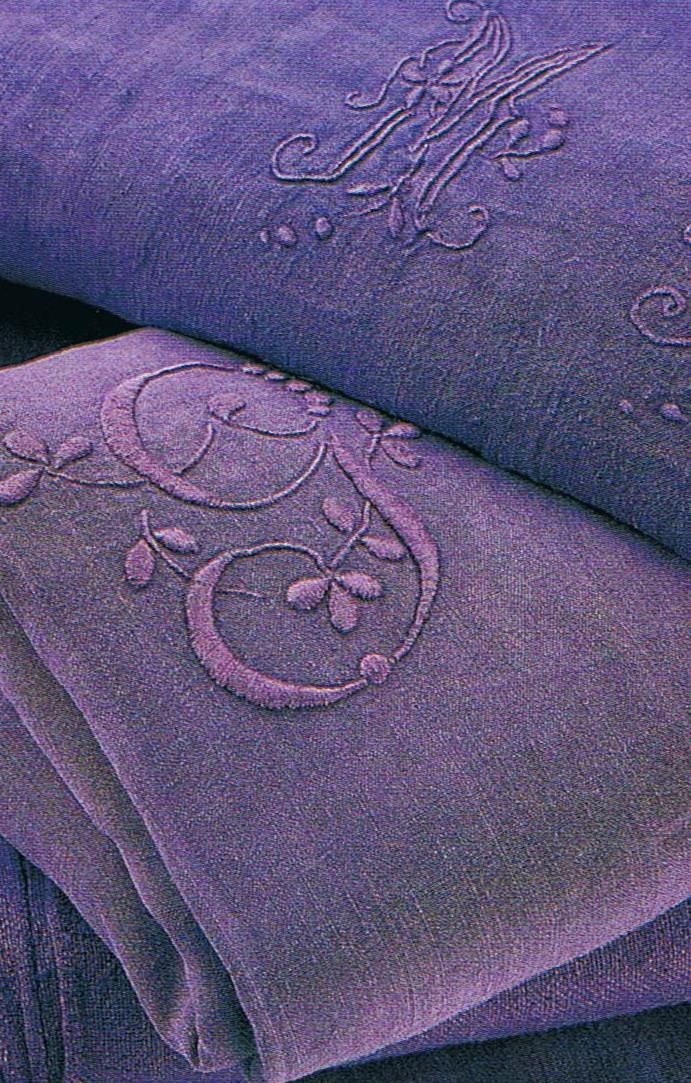 French embroidered linen dyed deep amethyst (takes courage to overdye old linens; i have had great success tea-dyeing with Typhoo tea!  Be aware: stains will become visible or more pronounced.