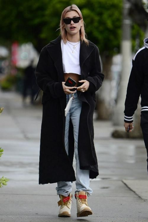 promo code 80161 3438b Hailey Baldwin wearing Yeezy Mid Rise Straight Jeans, Celine Cl41468 Edge  Sunglasses and Timberland X Off-White Velour Boots