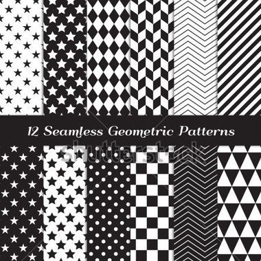 black-and-white-geometric-seamless-patterns-modern-backgrounds-in-chevron-polka-dot-diamond-checkerboard-stars-triangles_156497345.jpg (380×380)