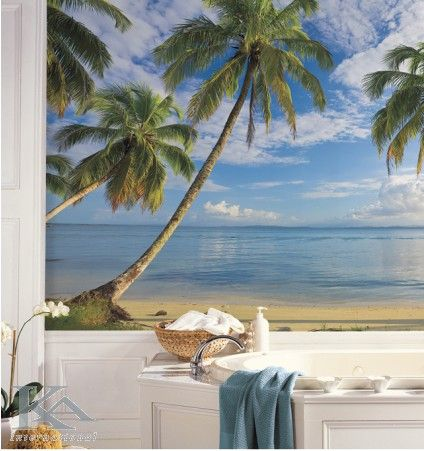 Wallpaper bathroom palm