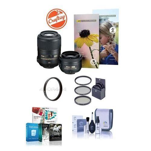 Nikon Macro and Portrait 2 Lens Kit - 35mm 1.8G AF-S DX NIKKOR and 85mm 3.5G AF-S ED VR DX Micro NIKKOR Lenses - Bundle with 52mm Filter Kit (UV/CPL/ND2), 52mm UV Filter, Cleaning Kit, Software Pack