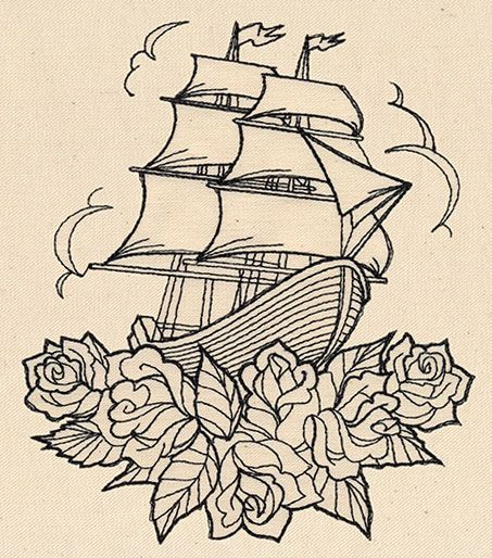 Thread Tattoos Ship and Roses | Urban Threads: Unique and ...