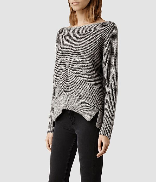 All Saints // Womens Mesa Sweater (LIquorice/Chalk)