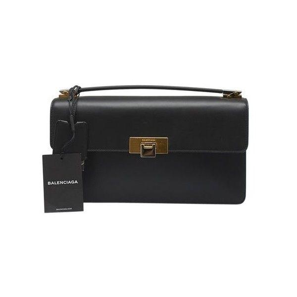 Balenciaga Le Dix Black Leather Satchel ($877) ❤ liked on Polyvore featuring bags, handbags, balenciaga purse, real leather purses, leather satchel purse, genuine leather purse and balenciaga
