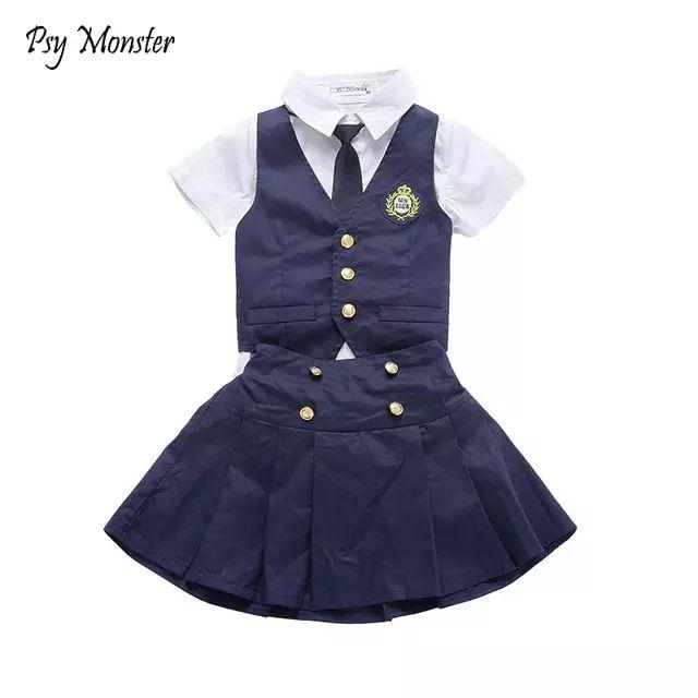 aa64a6ec85 Niños estudiante japonés coreano Preppy formales uniformes escolares para  niñas niños camisa Waistcoast falda pantalones ropa