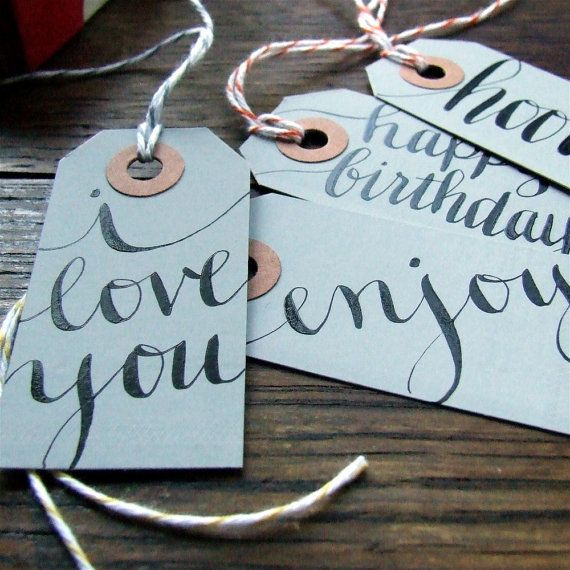 everyday gray calligraphy gift tags, package of 7 hand lettered gift wrapping hang tags by KisforCalligraphy