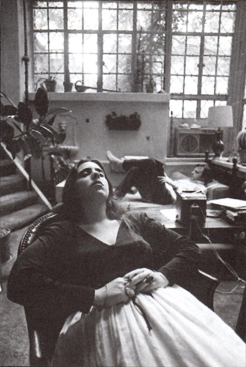 Laura Nyro with Stephen Sondheim, listening to music in his apartment - 1969. (Photo by Stephen Paley)