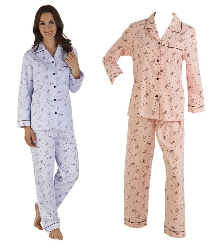Slenderella Bow Pattern Winceyette Cotton Pyjamas UK 10-22 (Lilac or Pink) - Mill Outlets
