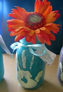 Kids Craft: Mason Jar Vase: Hands Prints, Mothersday, Mothers Day Gifts, Gifts Ideas, Mother Day Gifts, Kids, Mother'S Day, Mason Jars, Crafts