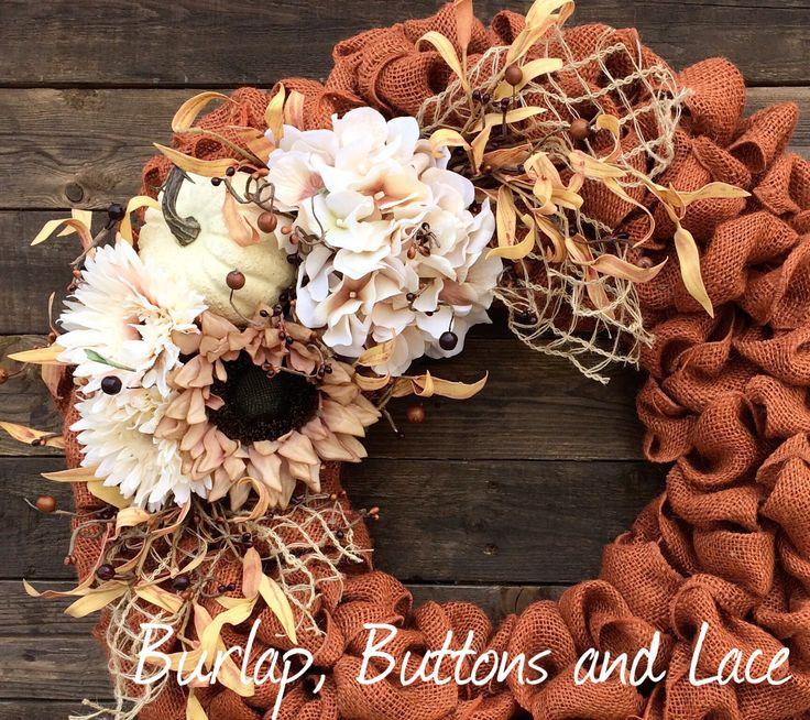 Vintage Burlap Wreath with orange burlap ribbon