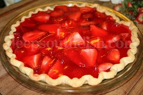 A well loved pie, reminiscent of those served at Shoney's restaurants, made with fresh sliced strawberries and set with the help of strawberry jello and a secret ingredient of good ole 7-up lemon-lime soda.