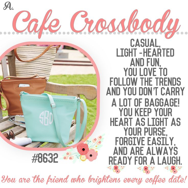 "What's your Thirty-One  purse-onality? Spring/Summer 2017 online party game   ""Cafe Crossbody"""
