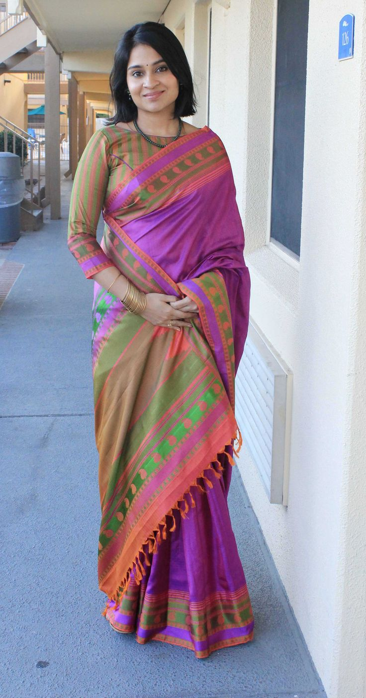 Magnificent Purple, Pink, Green, and Orange Handloom Saree