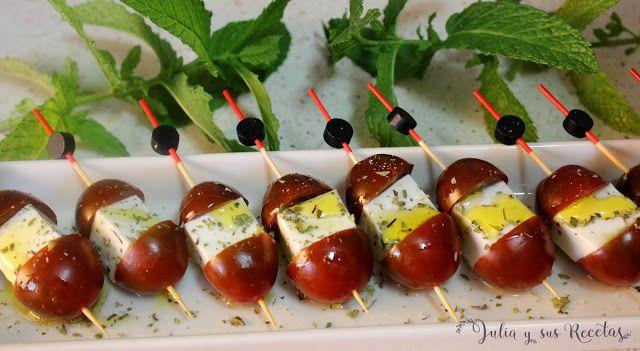 JULIA Y SUS RECETAS: Brocheta de tomatitos con queso fresco