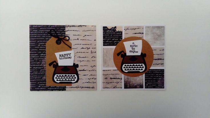 Twee kaarten met typemachines
