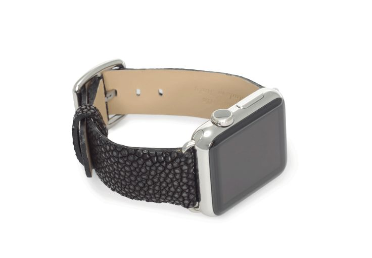 $ 159.00 Dark Secret - Dark Secret, the galuchat leather strap by Meridio, is glossy and opalescent black to confer a timeless elegance on your Apple Watch. Available 38 | 42 mm