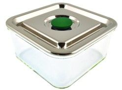 Square Airtight Glass Container with Stainless Steel Lid - Large