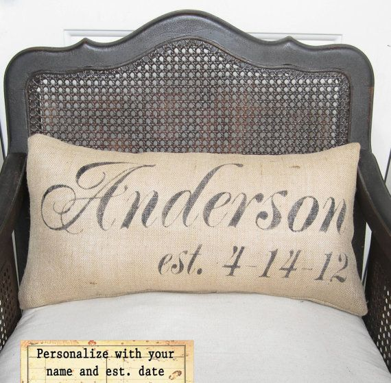 Personalized Name and Est Date Pillow -  Burlap Pillow Lumbar Style. $40.00, via Etsy.: Pillows Burlap, Lumbar Style, Gifts Ideas, Burlap Pillows, Bedrooms Beds, Master Bedrooms, Personalized Pillows, Great Gifts, Pillows Lumbar