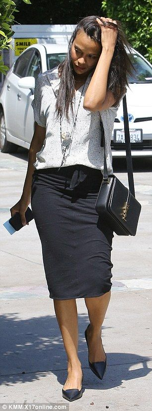 Zoe Saldana wearing Pleione while out with her beau!