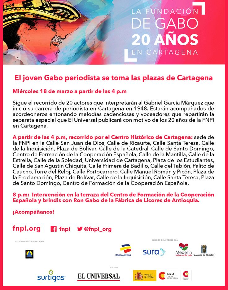 Gabo periodista se toma las plazas de Cartagena. Sigue el recorrido este miércoles 18 de marzo por las calles y plazas del Centro Histórico de la ciudad donde Gabriel García Márquez inició su carrera de reportero: http://www.fnpi.org/noticias/noticia/articulo/gabo-periodista-se-toma-las-plazas-de-cartagena/