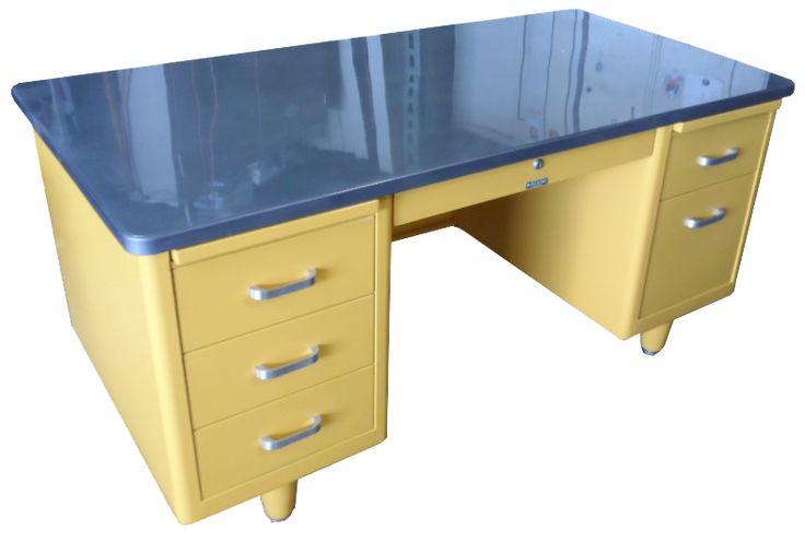 Steelcase Vintage Steel Tanker Desk | Vintage Desk | Stainless Steel Desk |