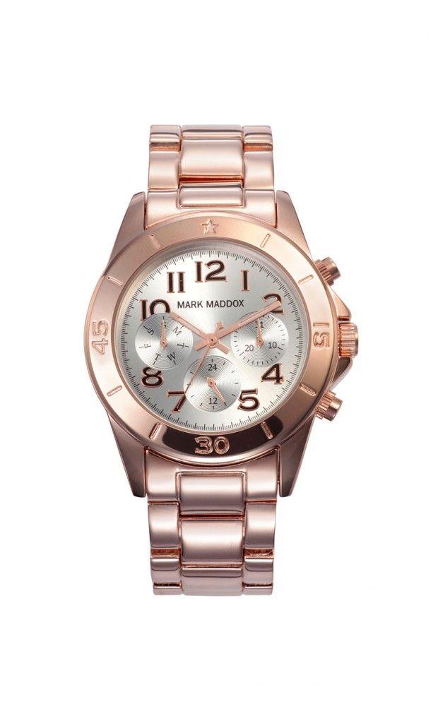 Un modelo clásico y elegante que no puede faltar en tu colección.   Reloj multifunción brazalete con acabado IP Rosa y cierre desplegable. Cristal mineral e impermeable 30m (3ATM)