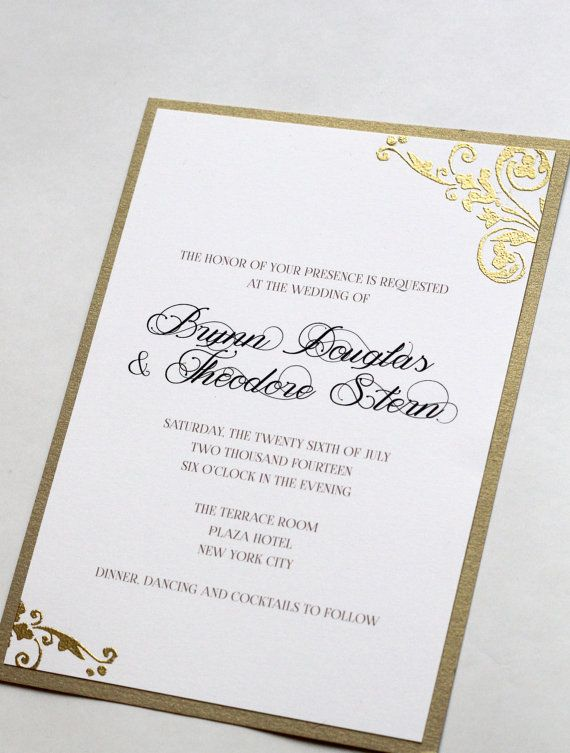 Gold Shimmer Wedding Invitations, Deco Swirl Embossed Wedding Invites with Reply Cards, Vintage Wedding Invites, Sparkly Gold and Black