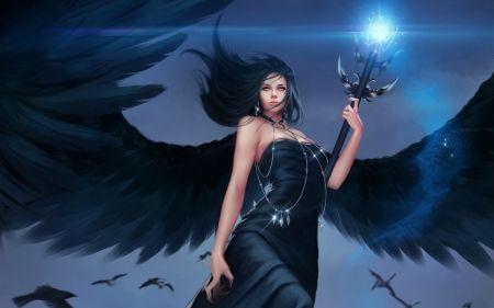 Dark angel - beauty, wings, fantasy, woman, girl, dark, feather, black, angel